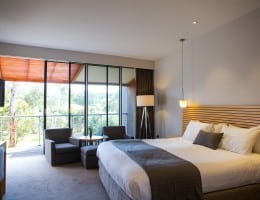 Hotel accommodation room with king size bed, armchairs, desk and television