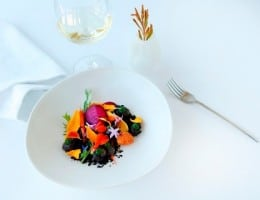 White bowl with colourful food