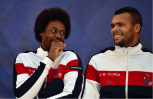 Gael Monfils and Jo-Wilfred Tsonga sitting together at press conference laughing